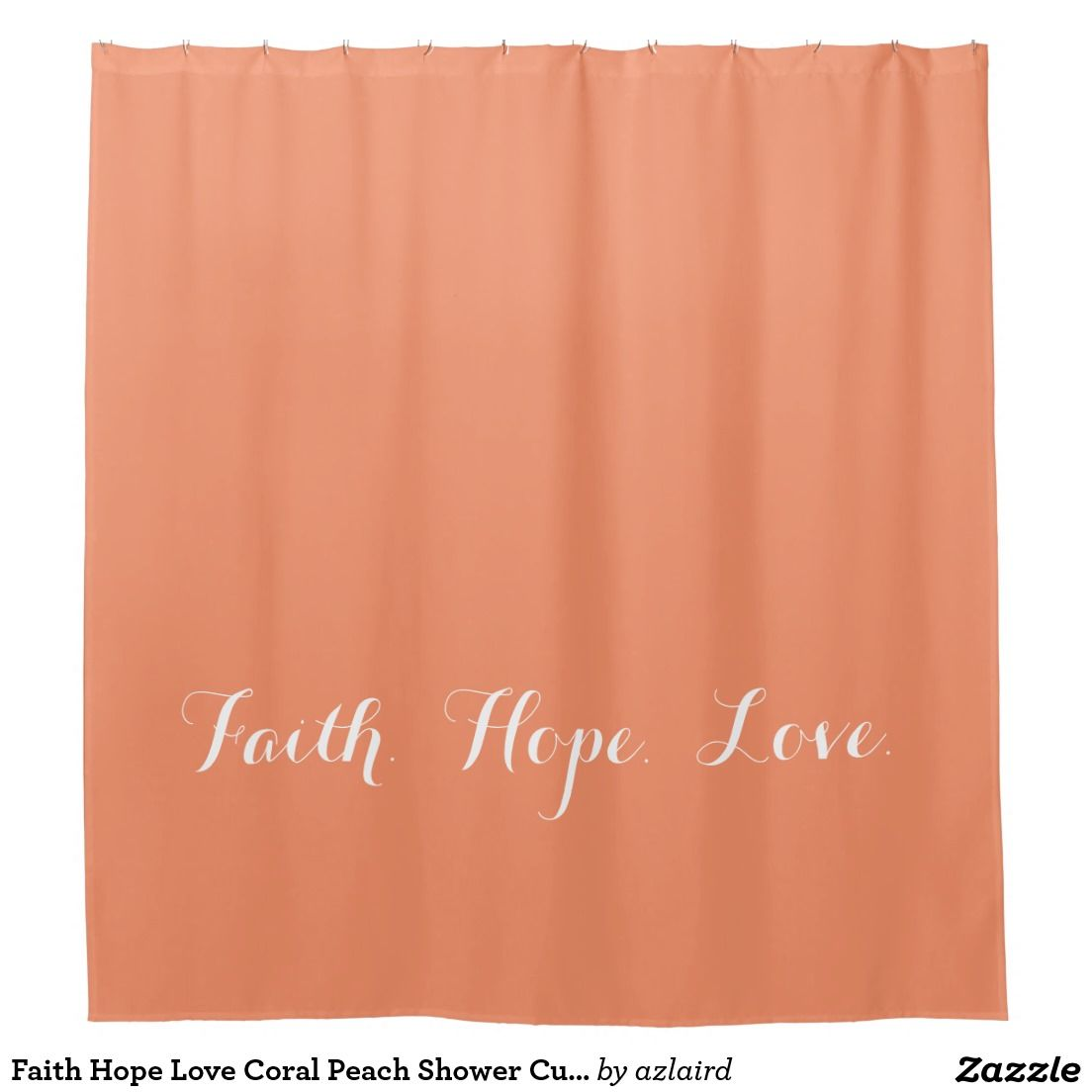 Faith Hope Love Coral Peach Shower Curtain