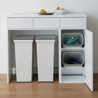 引き出し下の空間を自由に使えるカウンター収納 お手持ちのゴミ箱の