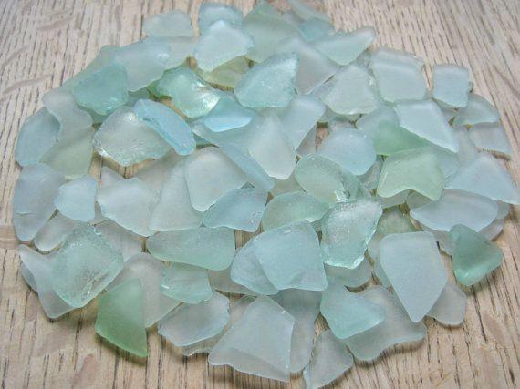 Bulk Sea Glass Seafoam Green Blue Beach Art by TidesTreasures