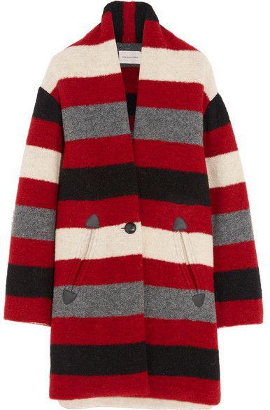 Etoile Isabel Marant Gabrie Striped Wool Blend Boucle Coat Red Stripe Coat Boucle Coat Cool Coats