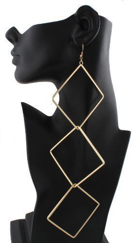 2 Pairs of Goldtone 3 Tier Square Shape Dangle Earrings