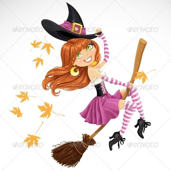 Witch Flying On A Broomstick Beautiful Witch Halloween Vector Illustration