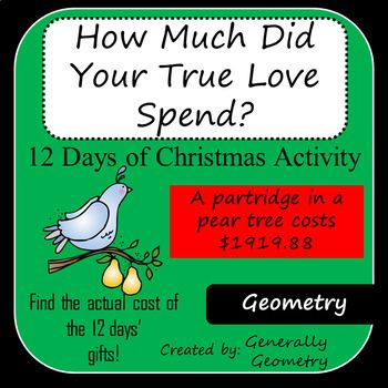 How Much Did Your True Love Spend 12 Days Of Christmas Activity