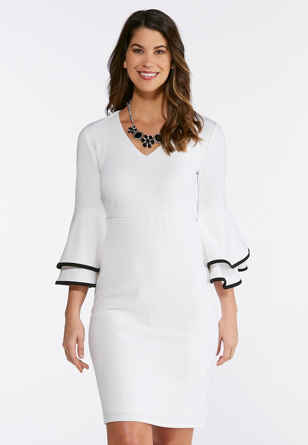 Plus Size Contrast Flutter Sleeve Sheath Dress  catoconfident ... 64256fb95