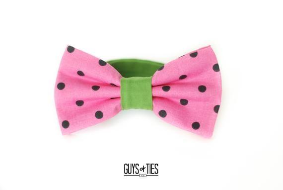 c4826355b005 watermelon bow tie, pink polka dot bowtie, mens fruit bowties, boys summer bow  ties, colorful dog bo