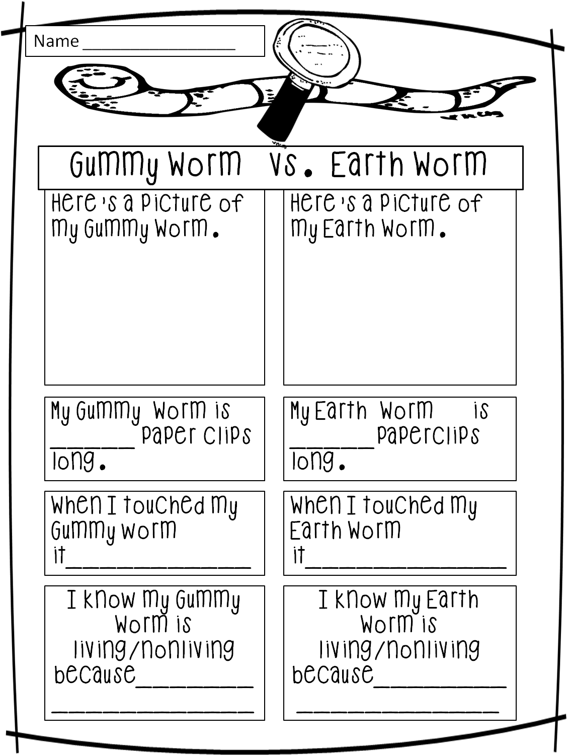 worksheet Living Vs Nonliving Worksheet living vs nonliving from first grade wow save for worms investigation science