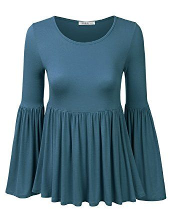 doublju long bell sleeves flared ruffle blouse top for women with