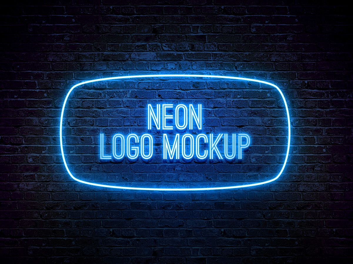 Photoshop Templates: Neon Logo MockUp PSD Template