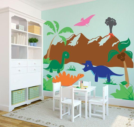 Cartoon Wall Decals Cute Happy Dinosaur Scene Collection Wall - Custom vinyl wall decals dinosaur