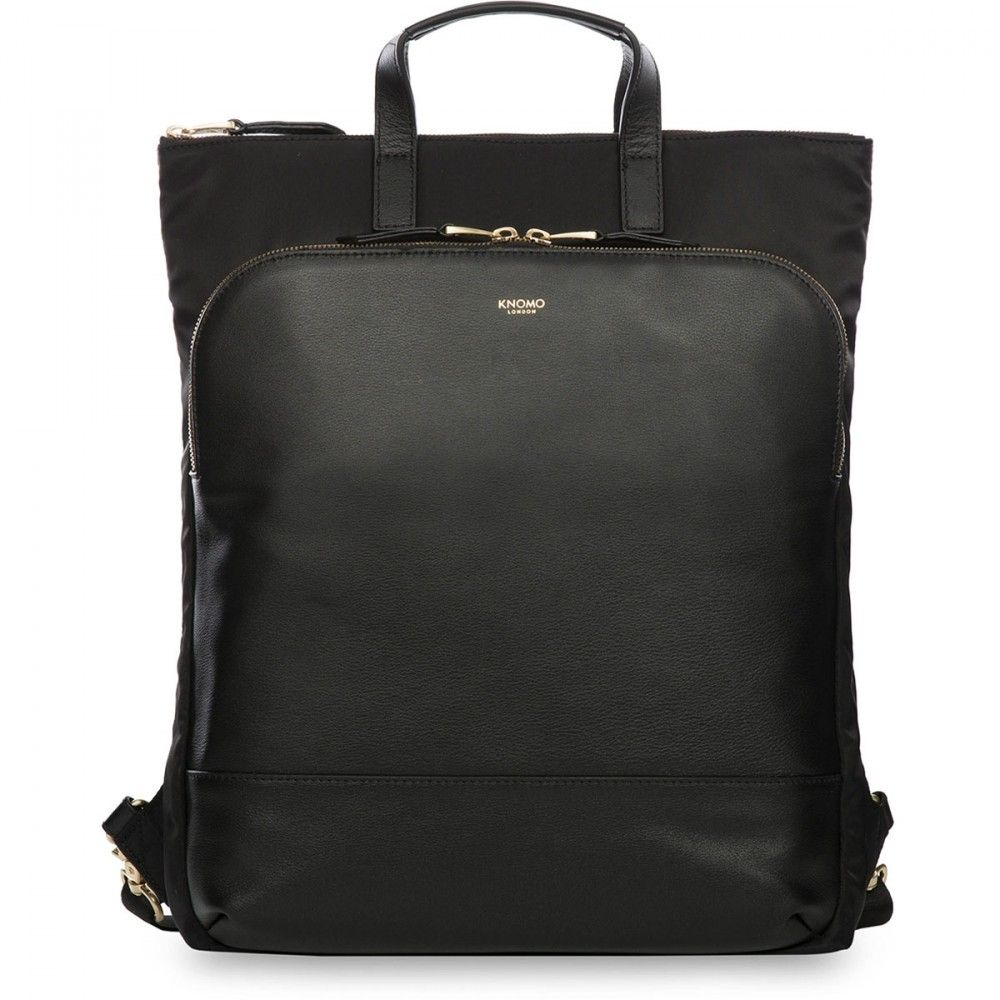 50d0b90cb1f Knomo Harewood Leather Backpack Black 15 inch Voorkant   work look ...