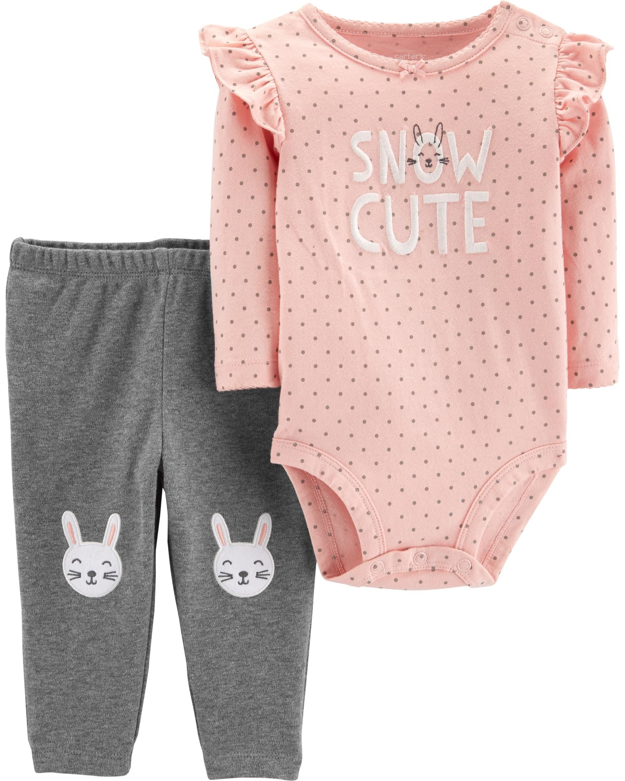 68283274827 Baby Girl 2-Piece Bunny Bodysuit Pant Set