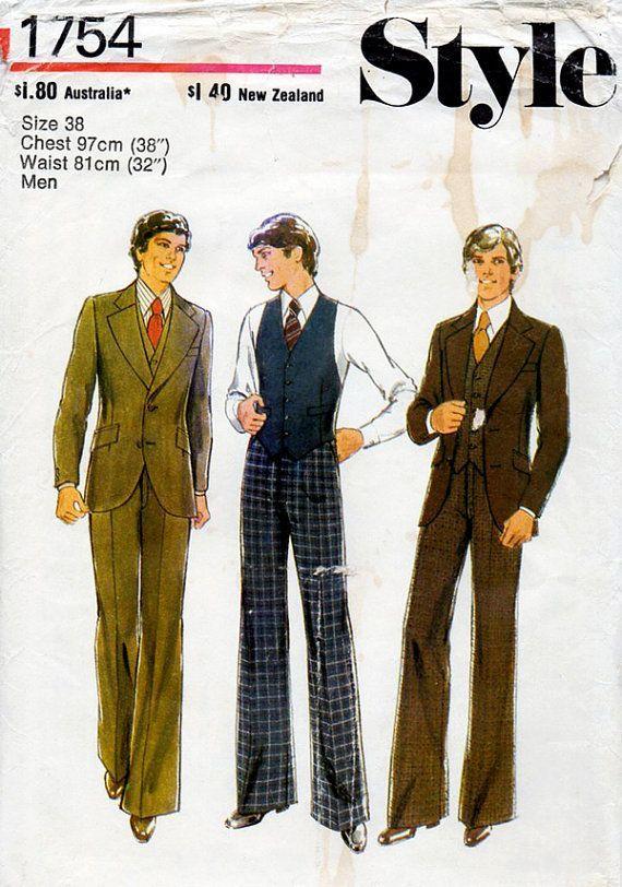 Suit Sewing Patterns for Men | 1970s Men\'s Suit Jacket, Waistcoat ...