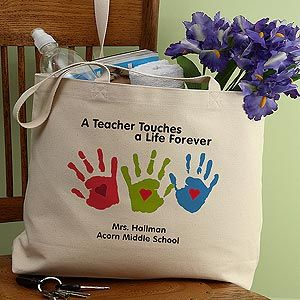 Touches A Life Personalized Teacher Tote Bag   Christmas gift ...
