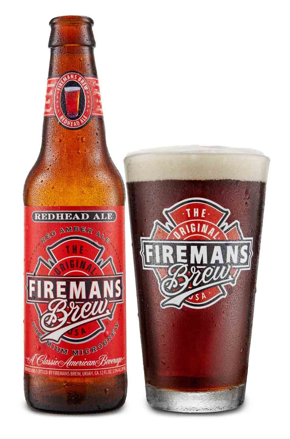 Fireman S Brew Redhead Ale Bottle With Logo Pint Glass Beer Refreshing Beer Beer Design