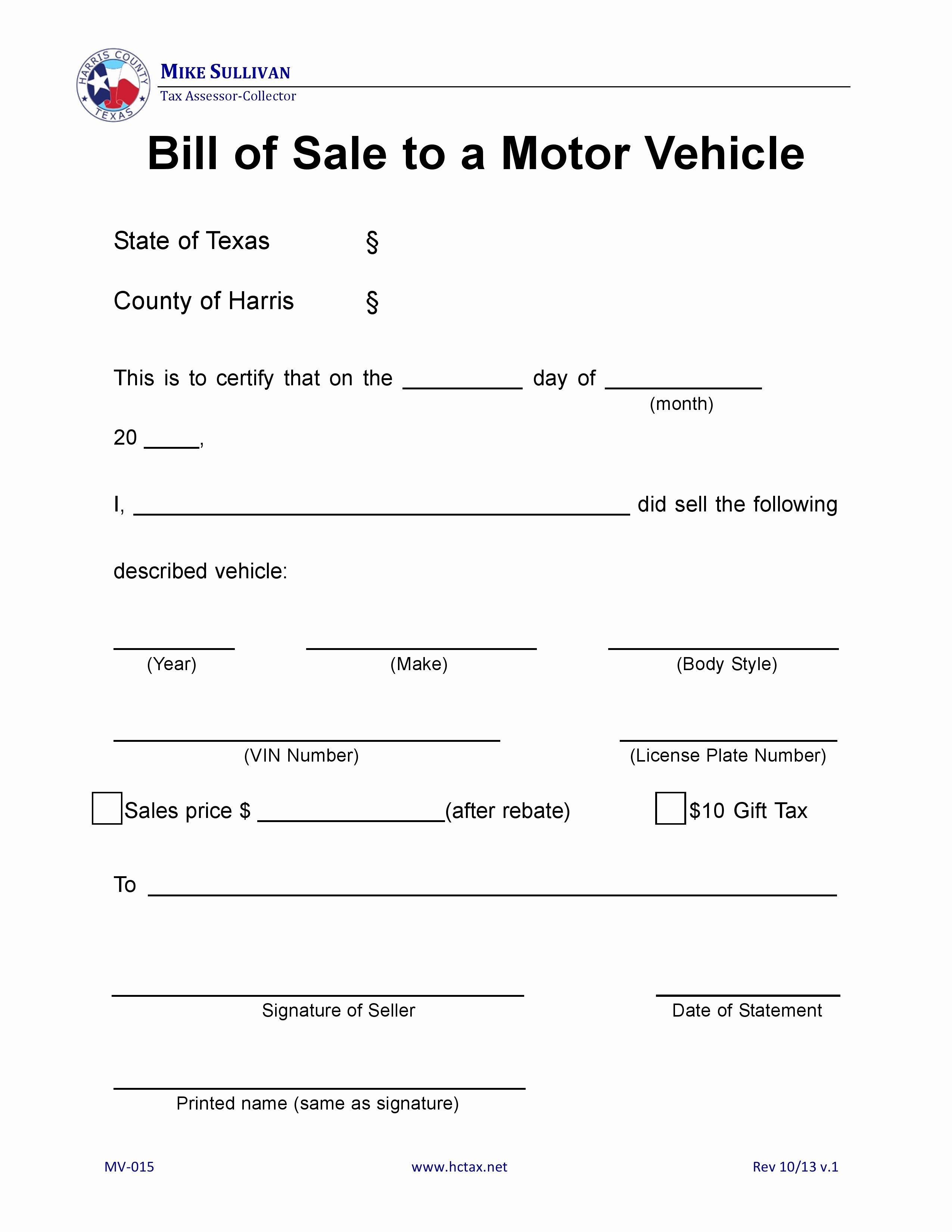 Bill Of Sale Form Automobile Elegant Free Harris County Texas Motor Vehicle Bill Of Sale Mv Bill Of Sale Template Bill Of Sale Car Bill Template