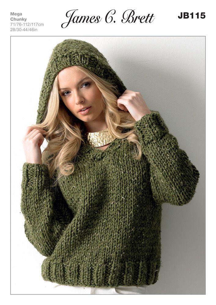 Hooded Sweater in James C. Brett Rustic Mega Chunky - JB115 | Knit ...