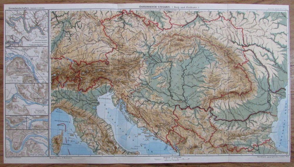 Details Zu Osterreich Ungarn Berg Und Flusskarte 52x29cm Alte