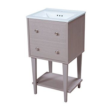 18 wide vanity cabinets inch bathroom with top depth fawn cabinet birch wood drift grey finish single surface