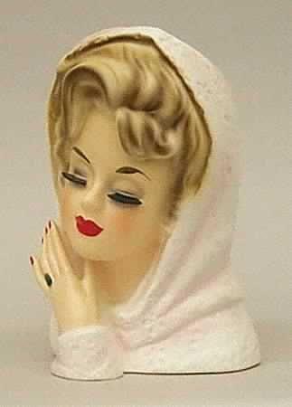 Pink Shawl Head Vase Ceramic Lady Heads Face Vase