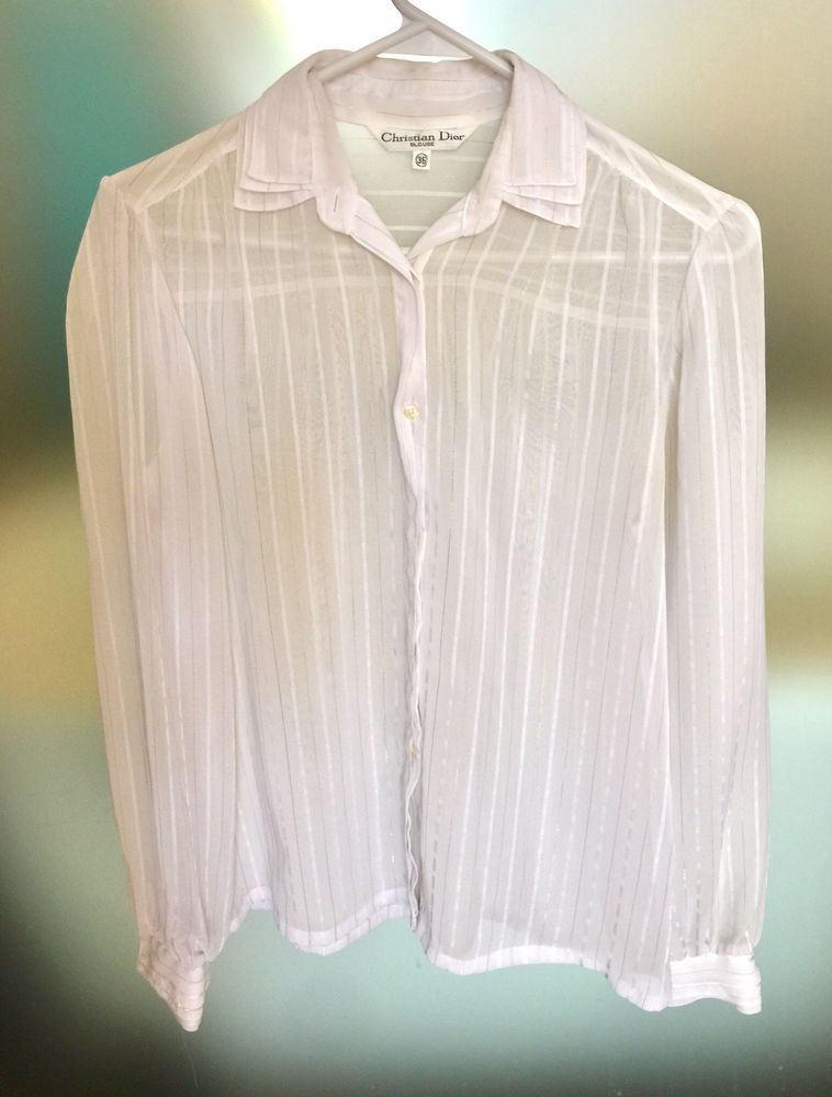 a617fa23 EUC Christian Dior Vintage 36 Xs Flowy Button Down Top Blouse Sheer White  Gold #fashion #clothing #shoes #accessories #womensclothing #tops (ebay  link)