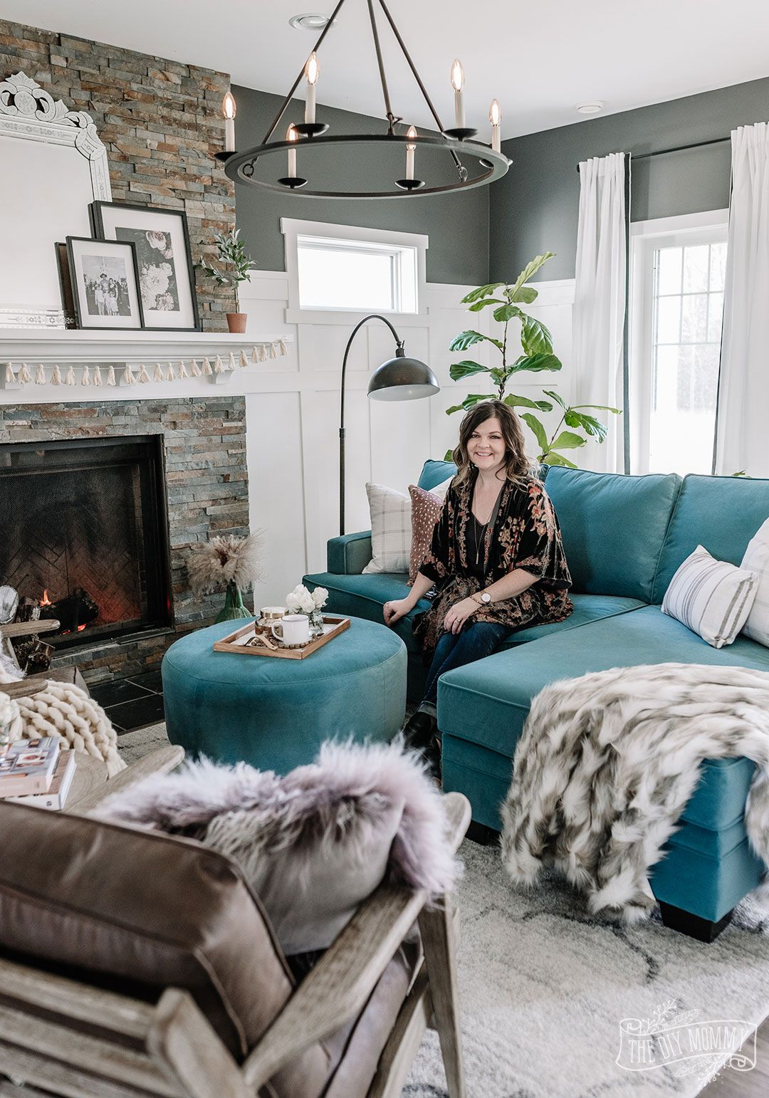 Our Eclectic Living Room Refresh With A Custom Velvet Chaise Sofa The Diy Mommy Teal Sofa Living Room Teal Living Rooms Eclectic Living Room