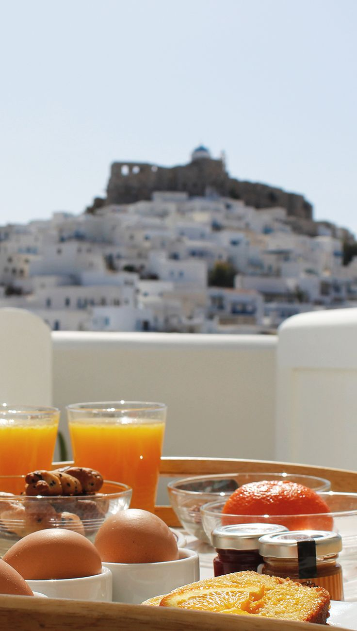 Breakfast with a view in Astypalea at the Kallichoron Art Boutique Hotel, Greece