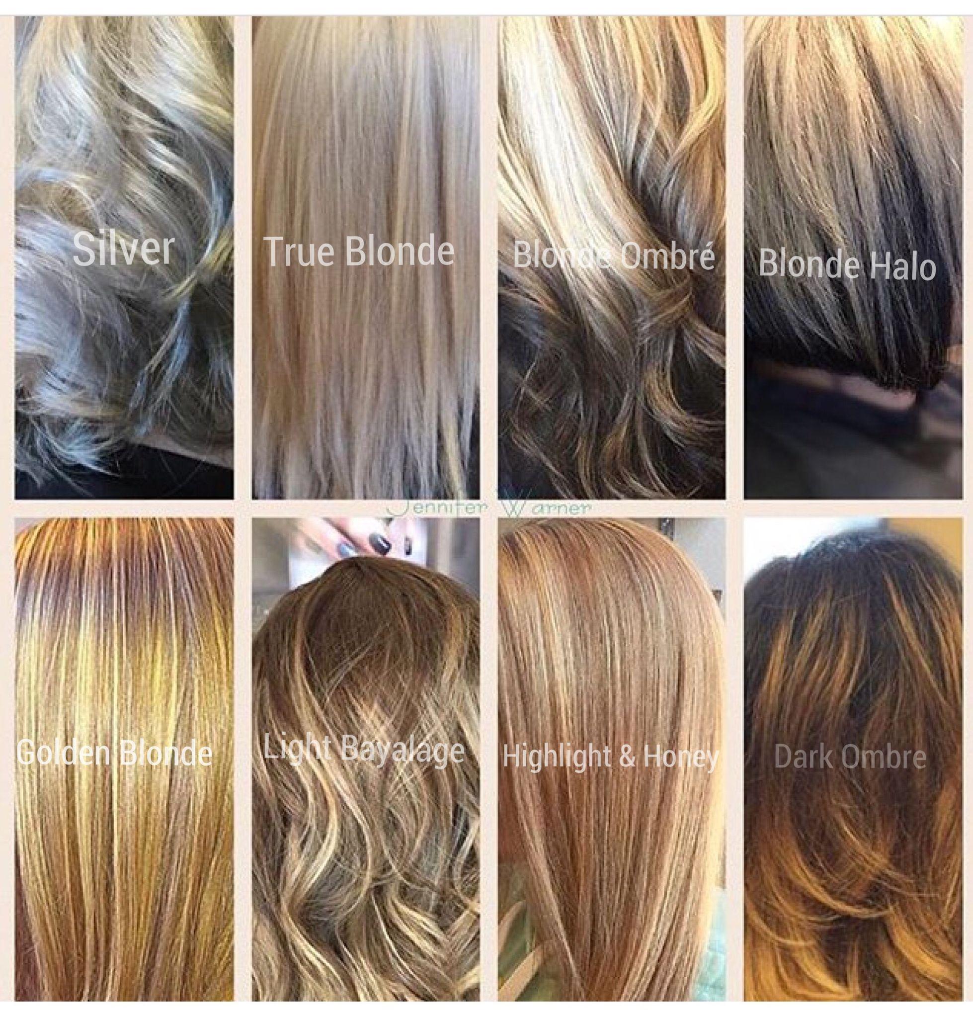 Blonde Hair Color Chart By Jennifer Warner From Silver Blonde To Dark Bayalage With Many Colors In Betwee Blonde Hair Color Chart Blonde Hair Color Hair Color
