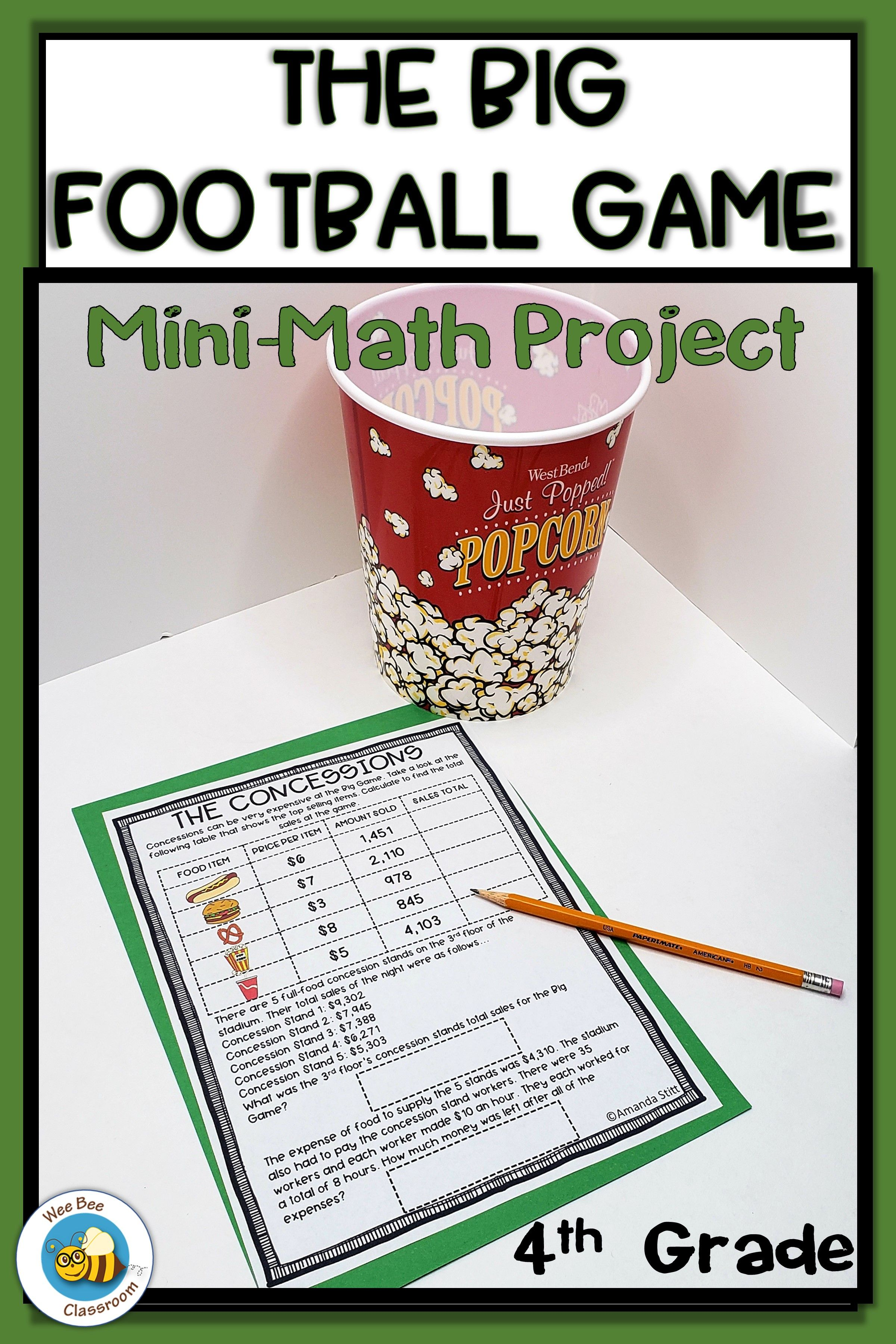 4th Grade Big Football Game Math Project