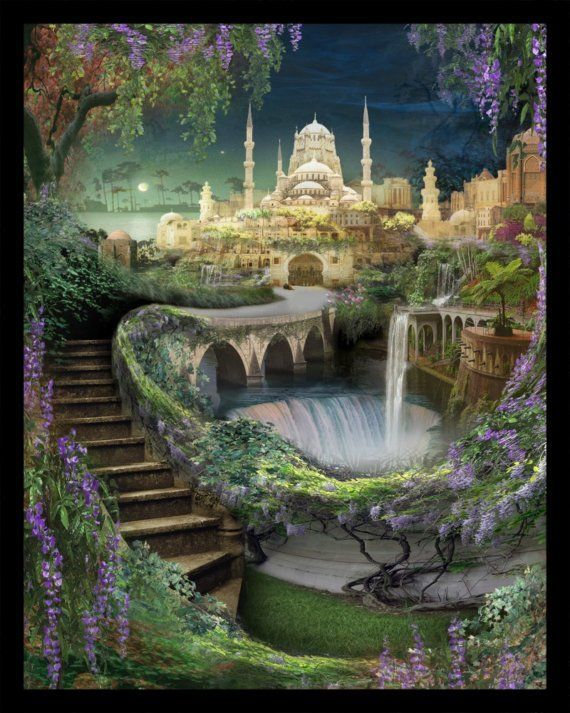 Lost Lands of Imagination - The Hanging Gardens of Babylon - Art Print by Brian Giberson