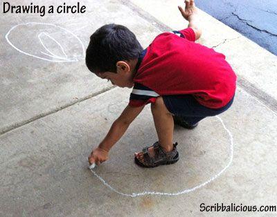 Sidewalk chalk idea – Preschooler art activity from Parenting Fun