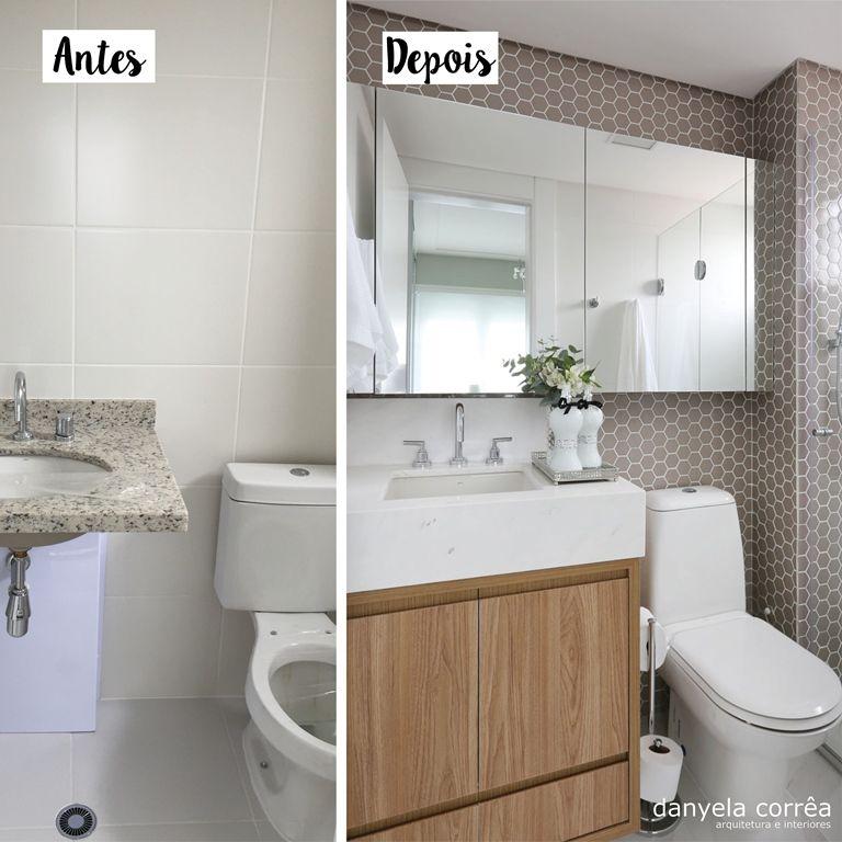 Armario Embutir Banheiro : Antes e depois banheiro com pastilhas exagonais bancada