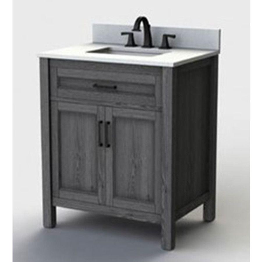 Scott Living Durham 30 In Gray Single Sink Bathroom Vanity With White Engineered Stone Top Mirror Included Lowes Com Single Sink Bathroom Vanity Bathroom Sink Vanity Bathroom Vanity