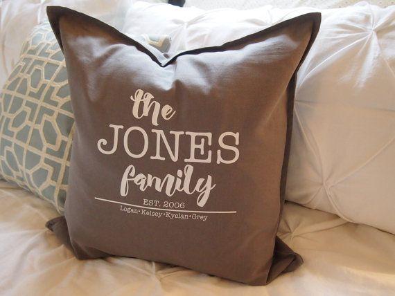 Wedding Pillow-  Farmhouse Monogram Pillow Cover Family Name Pillow Anniversary Pillow Personalized Pillow Established Pillow