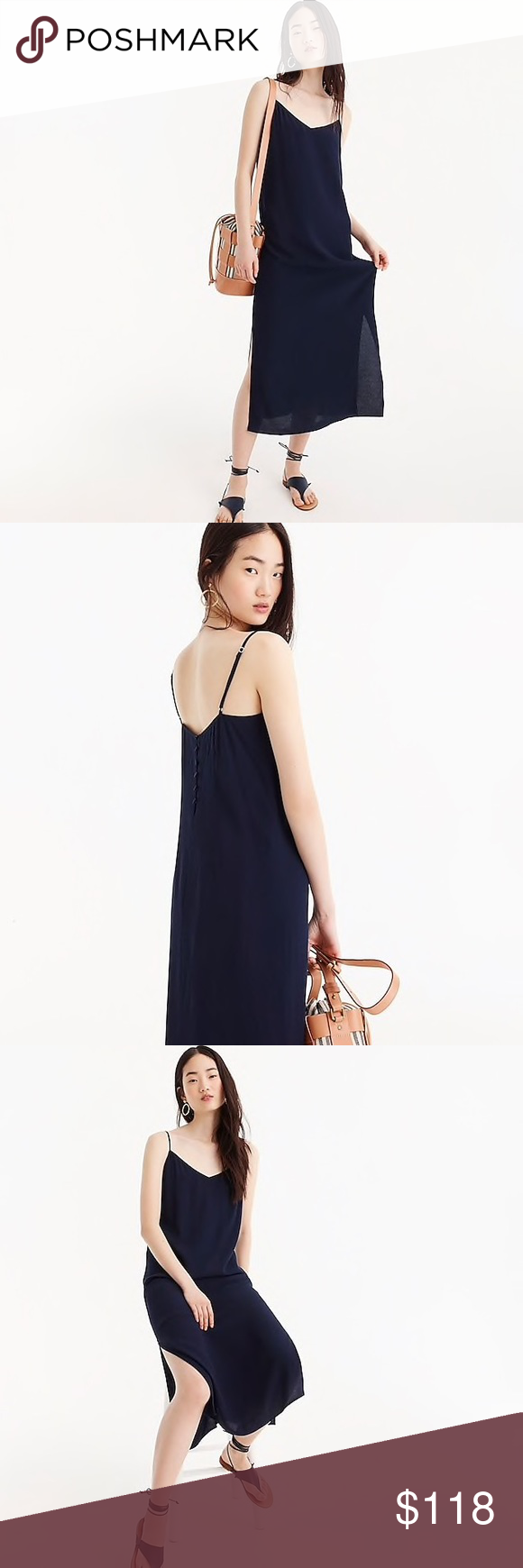 fa7da7dd5b73 NWT J.Crew • Midi Button-Back Slip Dress Every closet needs one—the ...