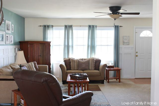Blue Brown and white color for living room with board and batten from love of family and home
