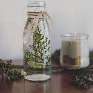 """Florence - Au Fil du Thym on Instagram: """"- Déco nature - Une petite idée déco toute simple mais qui fait son effet, se sont les bouteilles en verre avec une branche de conifères et…"""""""