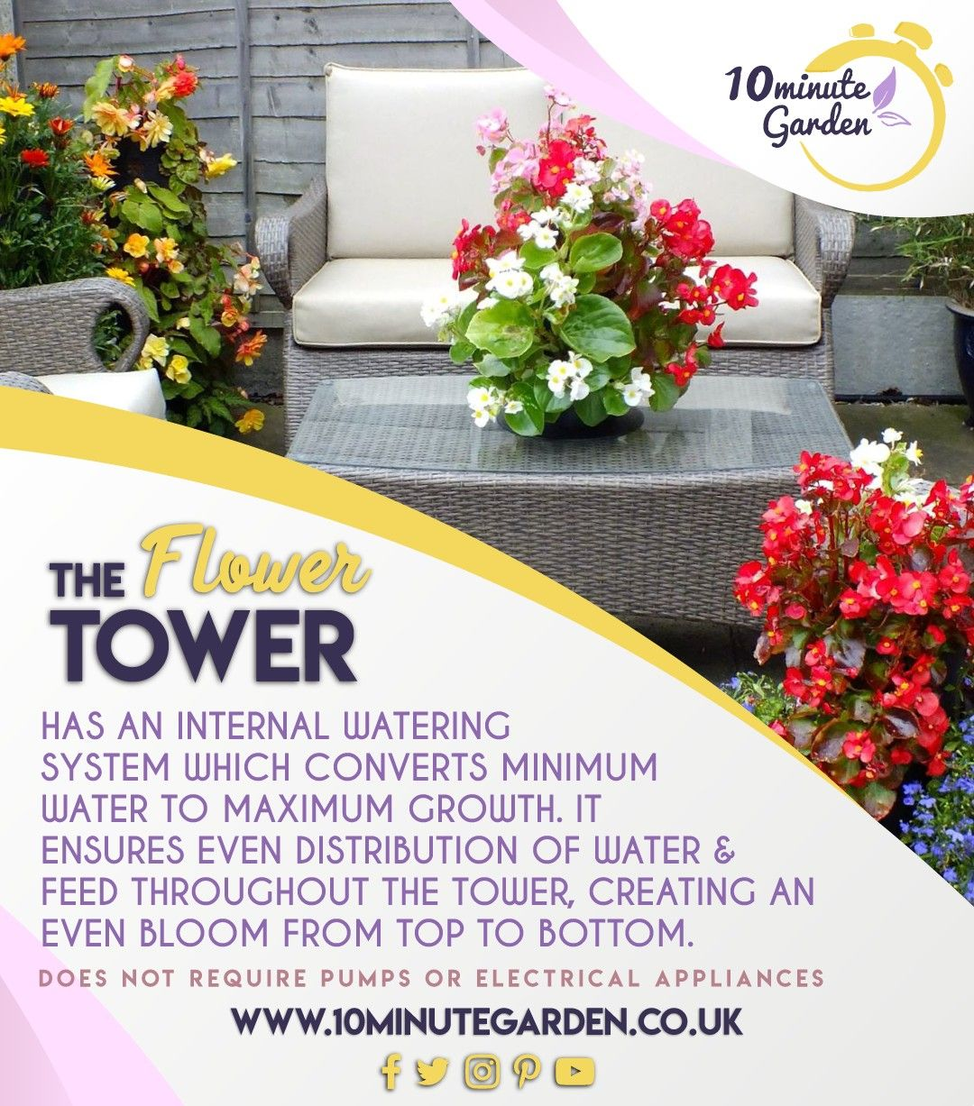 The flower tower has an internal watering system which