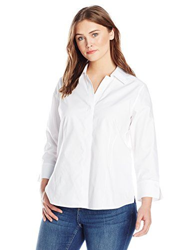 472dd257d7867a Foxcroft Womens PlusSize Taylor Essential Blouse White 24W *** Read more  reviews of the product by visiting the link on the image.Note:It is  affiliate link ...
