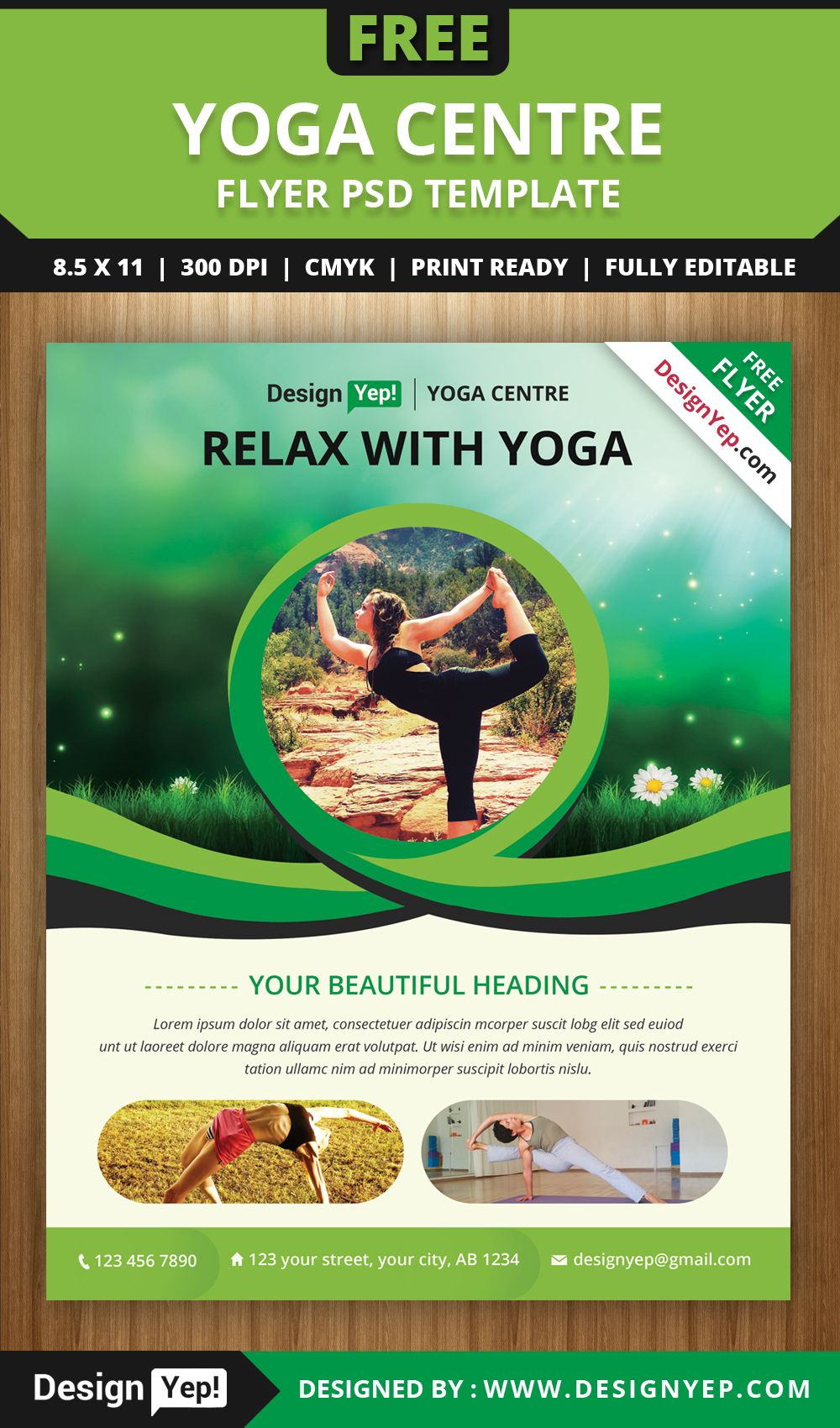 free yoga flyer psd template for download free flyers pinterest