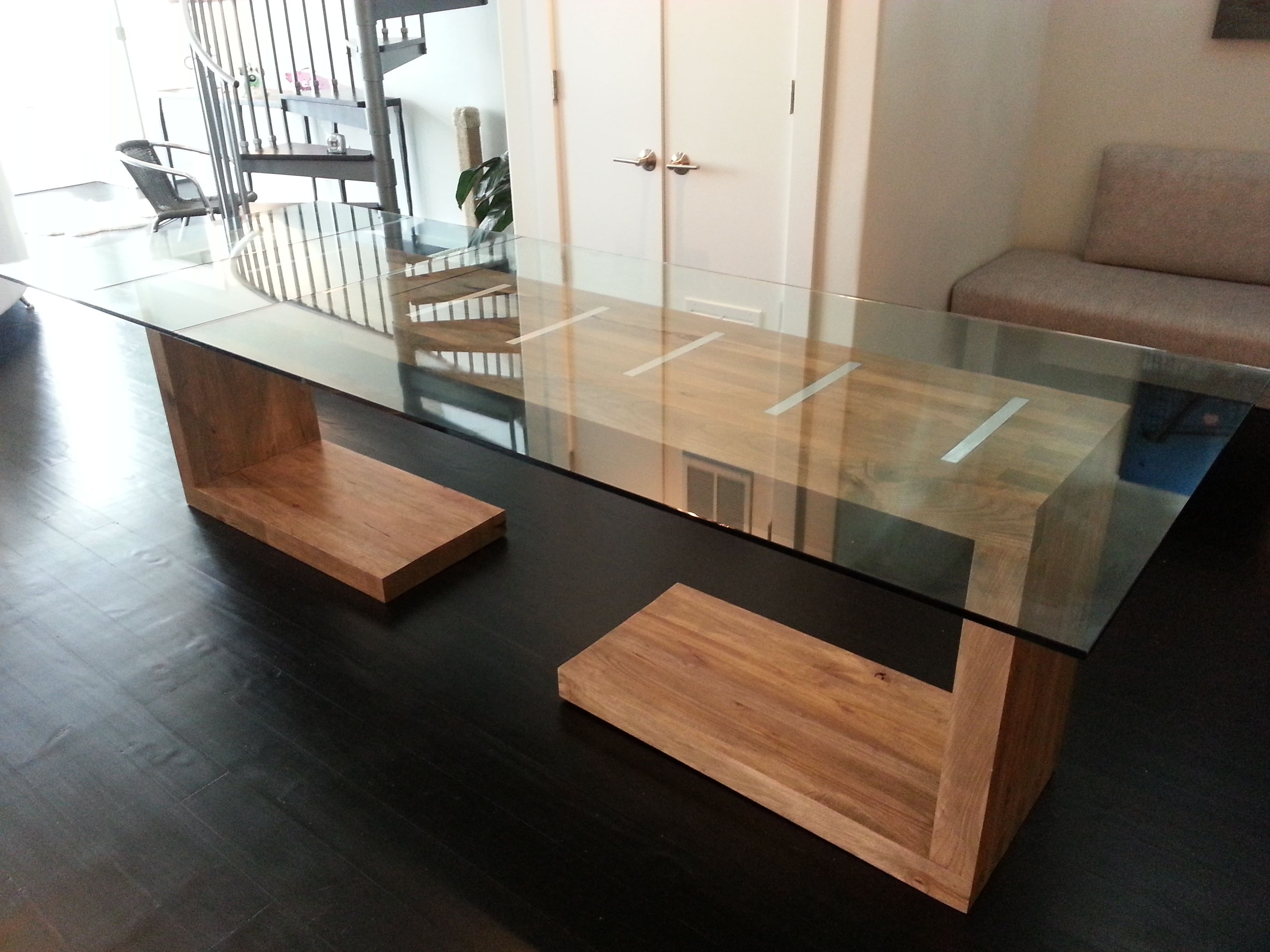 Custom Made Glass Top Dining And Side Table Modern Glass Dining