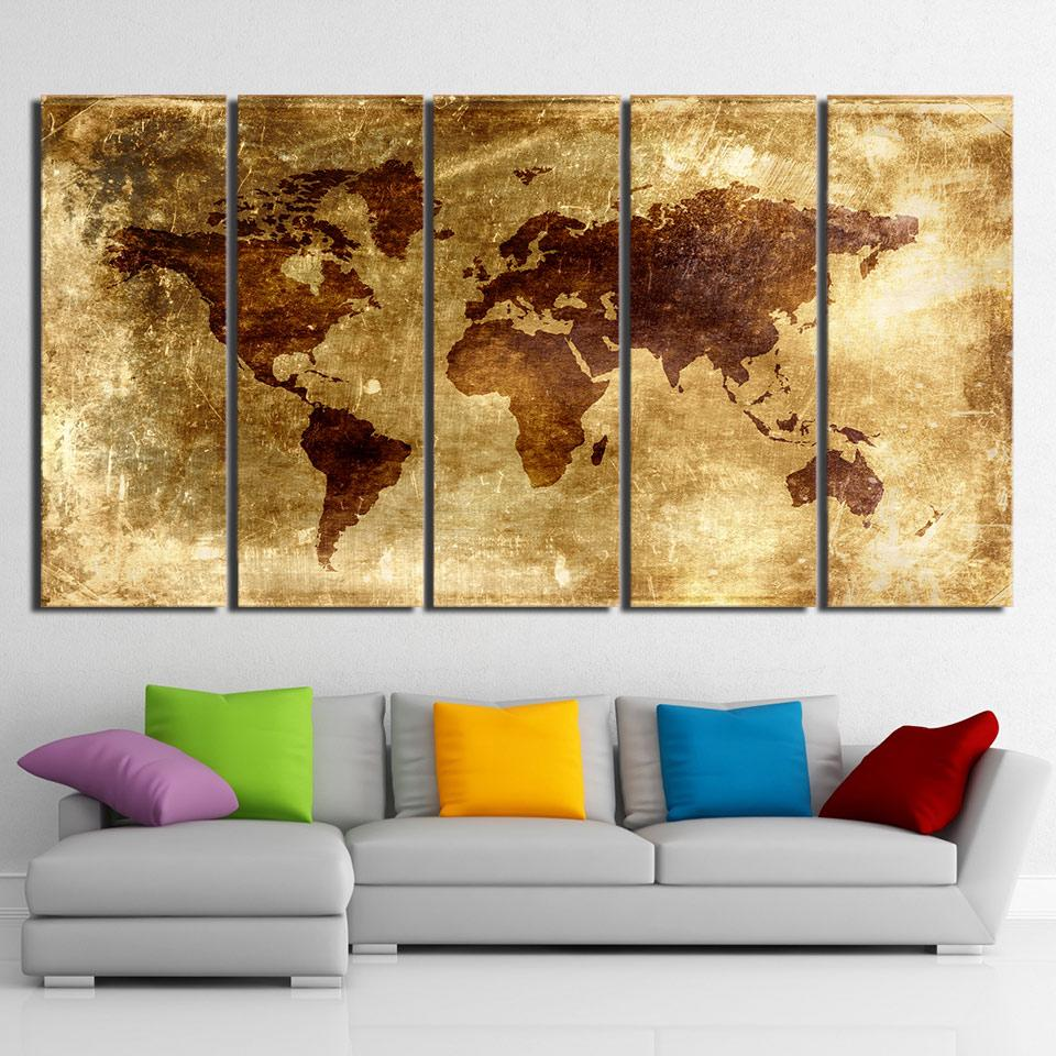 HD Printed 5 Piece Canvas Art Painting Vintage World Map Picture ...
