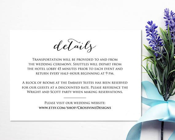 Details Card Template: Instantly download and print your own wedding details insert cards.