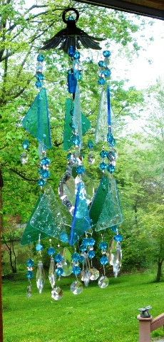 glass wind chime sun catcher stained glass, summer sky. $47.00, via Etsy.