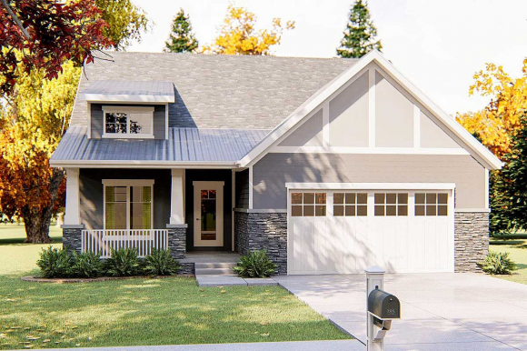 This 2 Bed Bungalow Esque Cottage House Plan Has A Metal Shed Roof With A 4 12 Pitch Over The Front Porch In 2020 Porch Roof Styles Metal Shed Roof Cottage House Plans