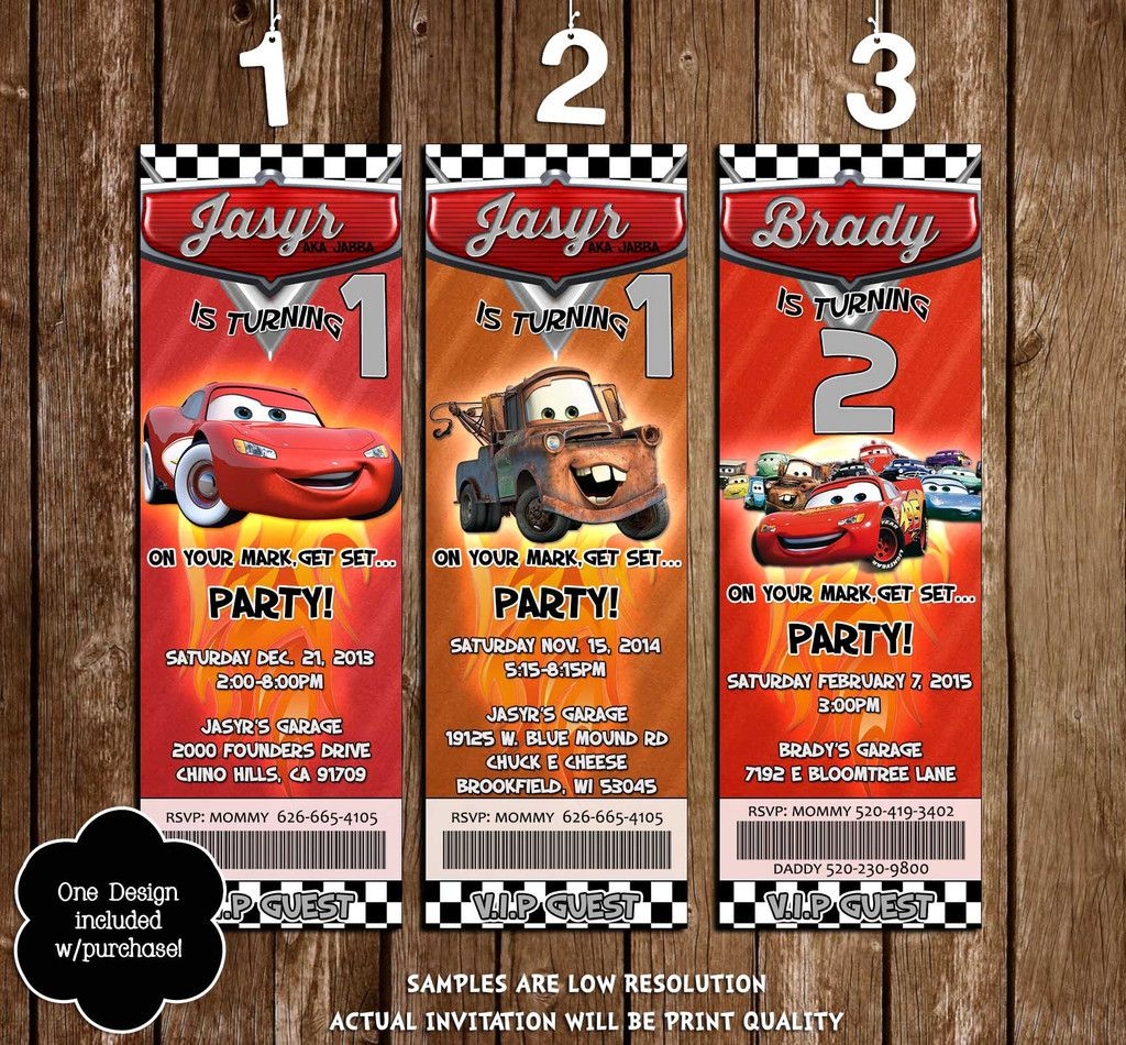 Disney\'s Cars Birthday Party Ticket Invitation | Party tickets, Cars ...