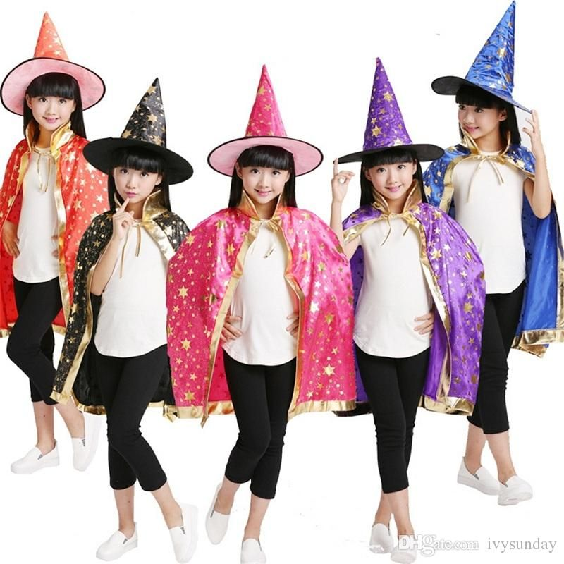Halloween Family Spiderman Cosplay Suit Stage Costumes Masquerade Masked Siper Man Jumpsuits Clothes Party Cartoon Adult Boys Setsu0026Frozen  sc 1 st  Pinterest & Children Kids Halloween Costume Wizard Witch Cloak Cape Robe Hat for ...