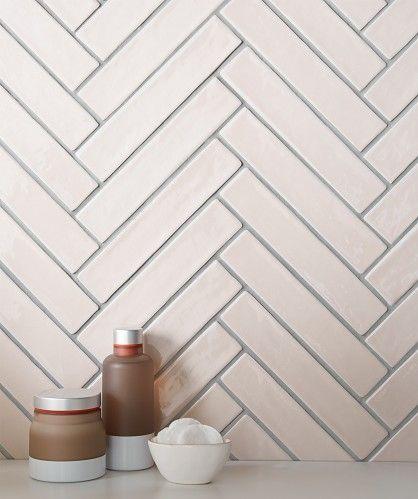 Pink Herringbone Tiles … | Bathroom wall tile, Herringbone ...