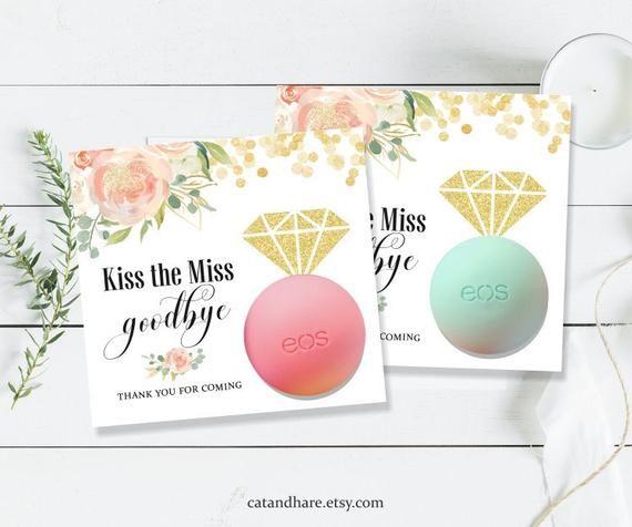 kiss the miss goodbye bridal shower favors eos lip balm