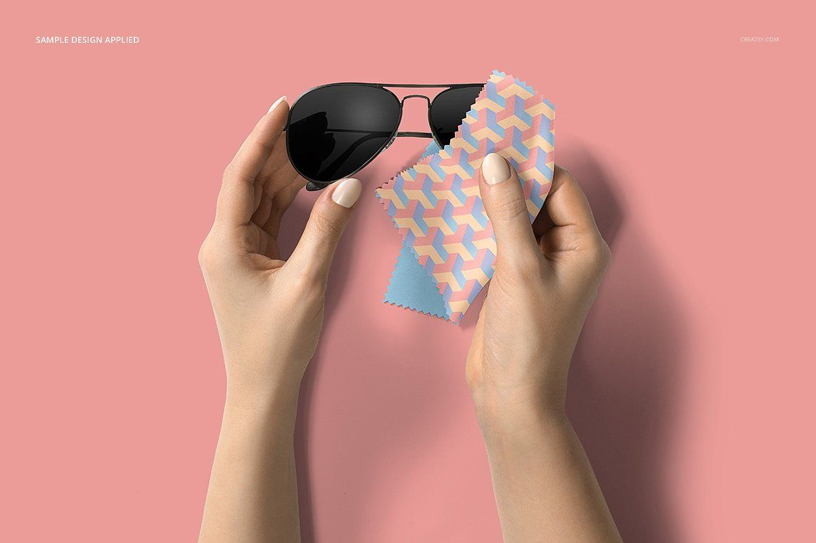 Glasses Cleaning Cloth Mockup changeabledpidesigncolor