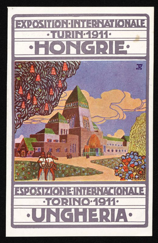 Poster for International Exposition in Torino, Italy 1911.  Hungarian Pavilion designed by Architects Emile Töry & Moric Pogány.  Poster artist Moric Pogany.
